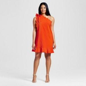 VICTORIA BECKHAM 2X One Sleeve Orange Peplum Dress